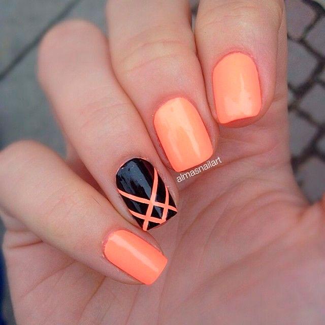 Оранжевый маникюр на короткие ногти
