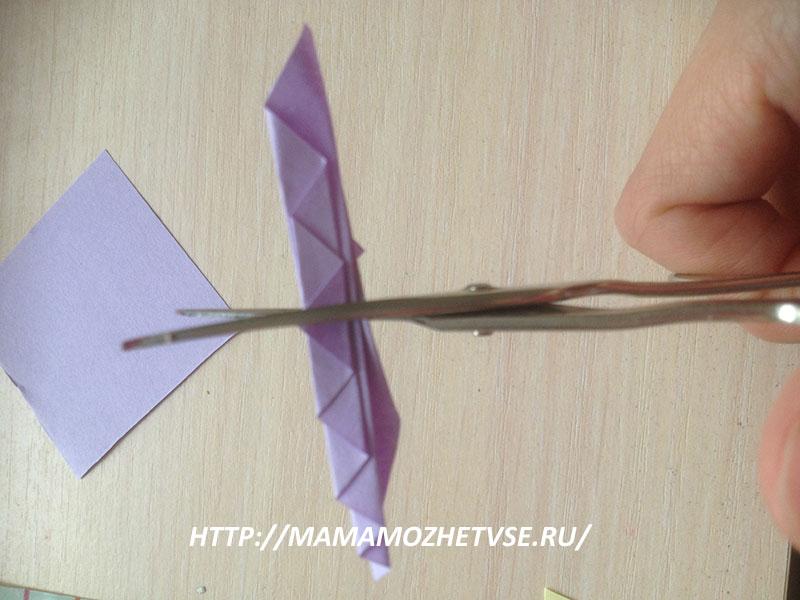 изготовление плавника для рыбки из бумаги