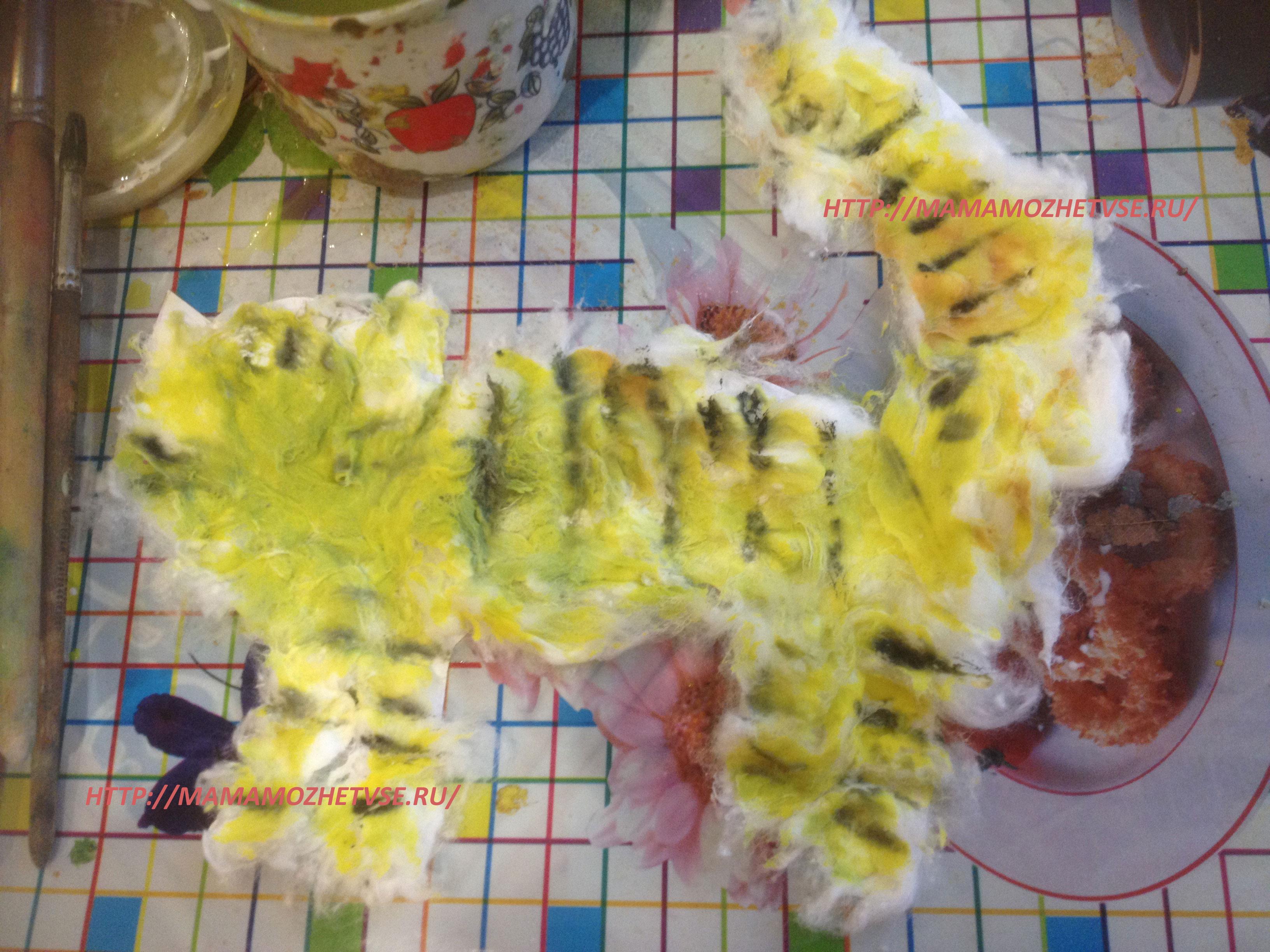 Объемная аппликация из ваты для детей: кот