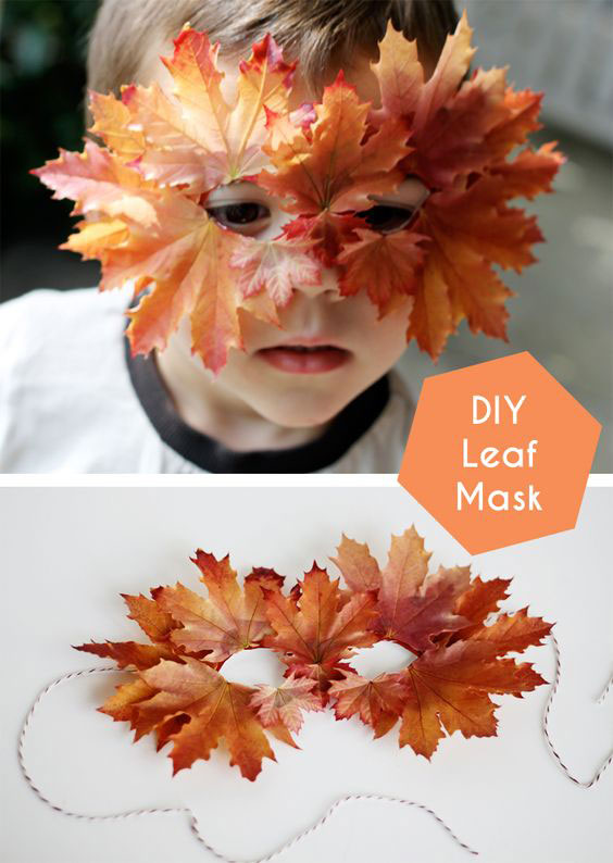 маска поделка из листьев