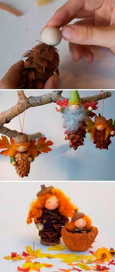 осенняя поделка из шишек лесные феи