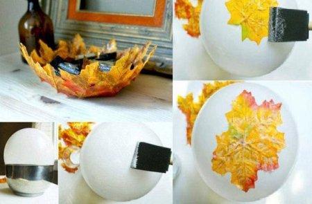 как сделать вазочку из листьев для мелочей