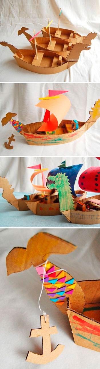 картонный кораблик