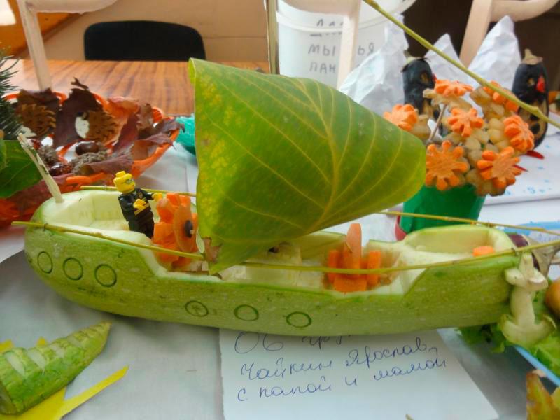 корабль из овощей