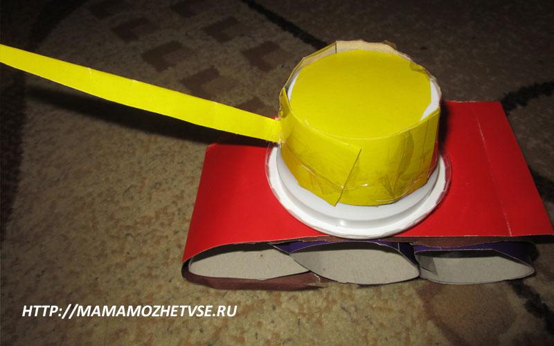как сделать танк из бумаги с поворотной башней