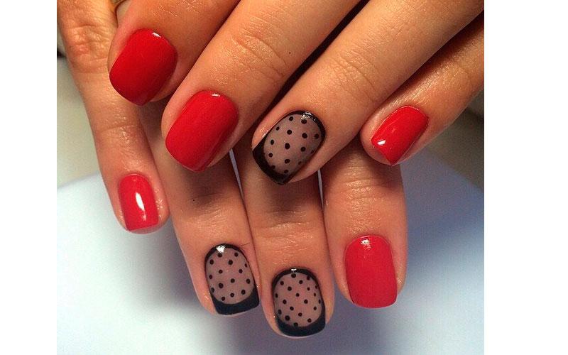 Гель лак на короткие ногти красный дизайн фото
