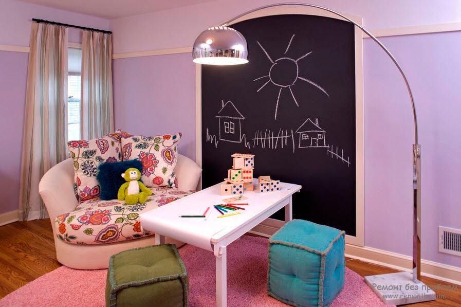 Дизайн детской комнаты в фиолетовых тонах