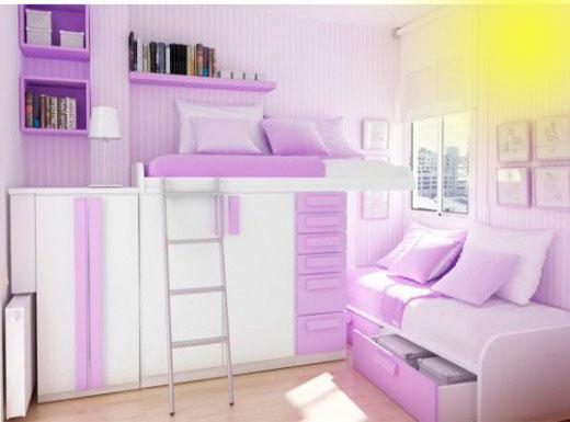 фиолетовый цвет в интерьере детской комнаты 2