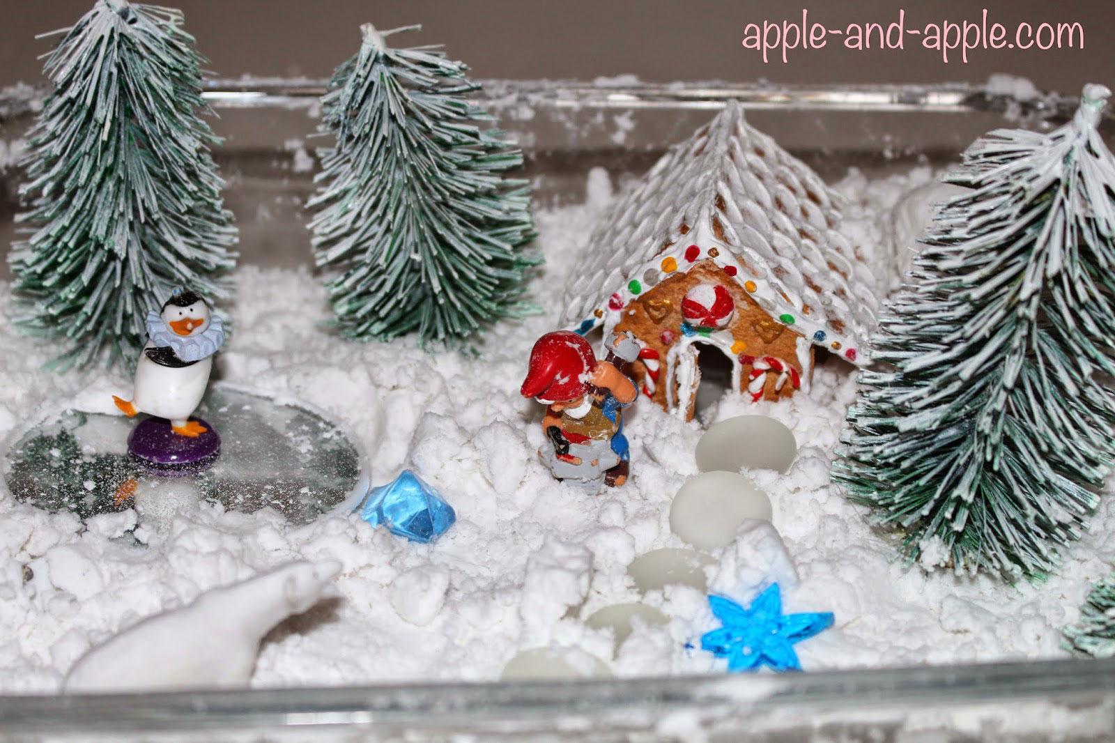 сенсорная коробка с искусственным снегом