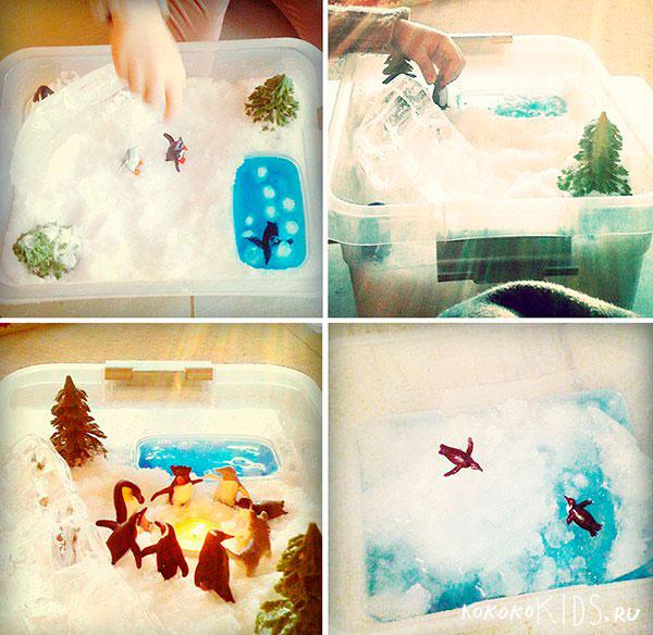 зимняя сенсорная коробка для детей