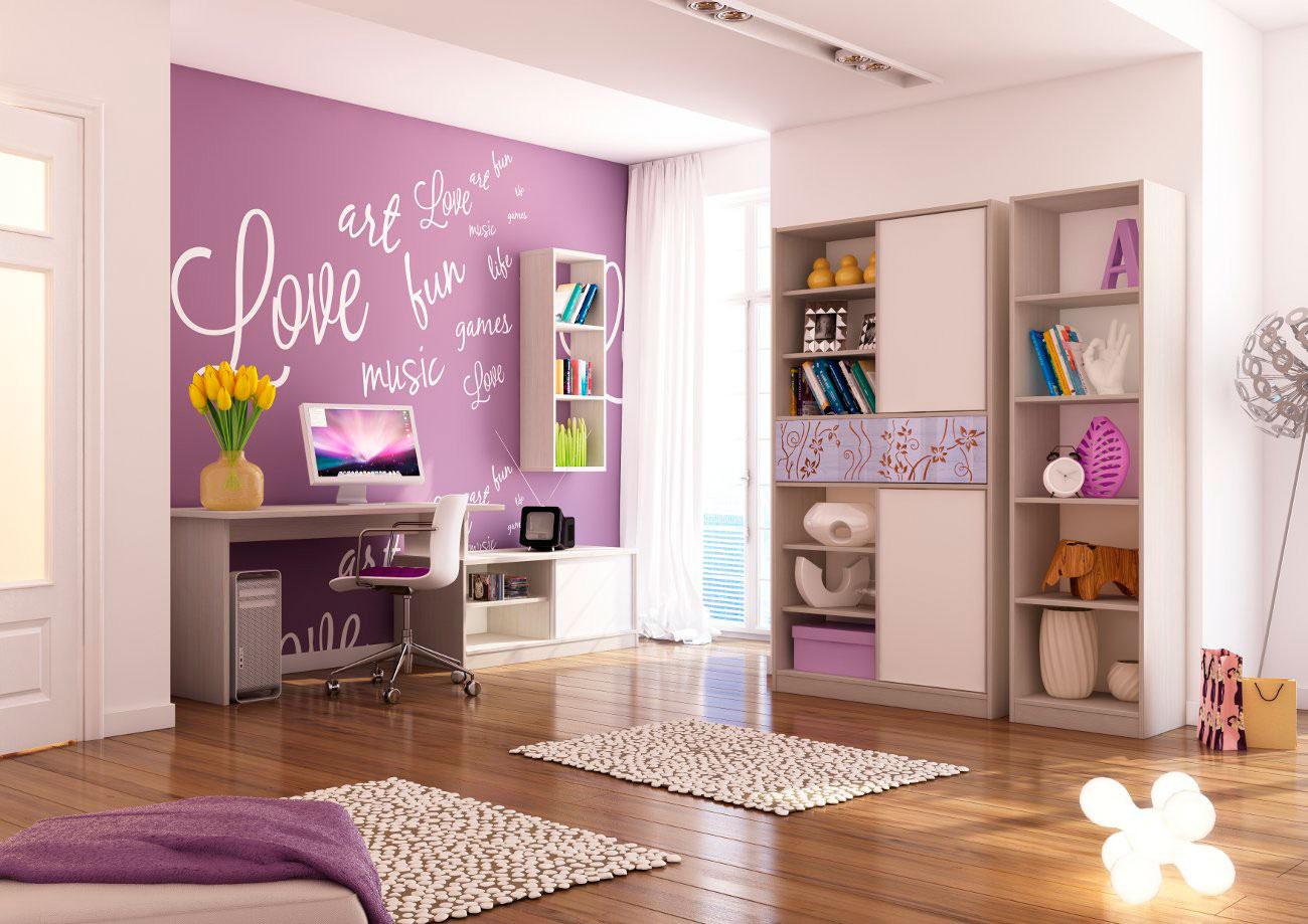 детская комната с фиолетовой стеной