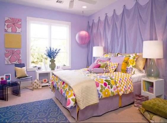 фиолетовый в сочетании с желтым цветом в детской