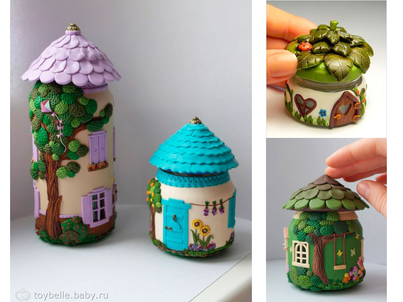 crafts made of polymer clay and baby food jars