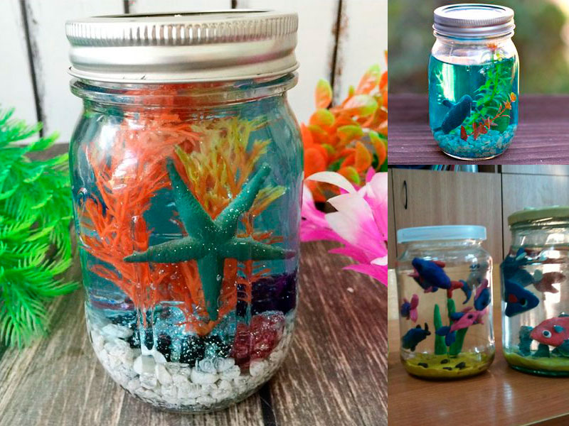 do-it-yourself aquarium from baby food jars