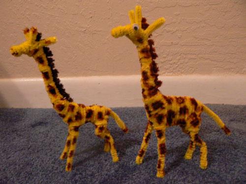 детские поделки жирафы из пушистой проволоки