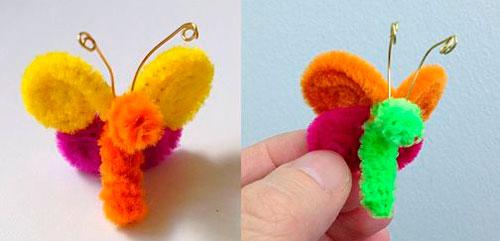 детская поделка бабочка из пушистой проволоки