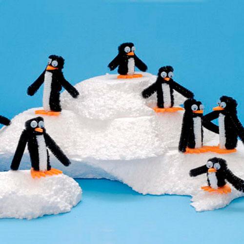 пингвины из пушистой проволоки