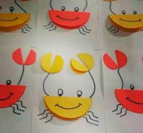 краб аппликация из кругов для детей