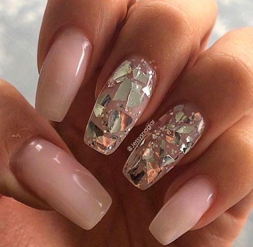 гель лак и битое стекло на ногтях