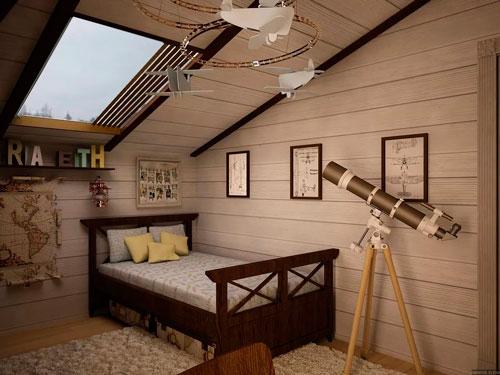 Детская мансардная комната с балками