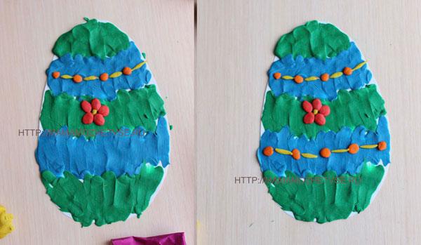 идея поделки с детьми к Пасхе из пластилина и картона