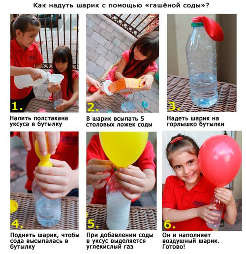 как надуть шарик с помощью соды и уксуса