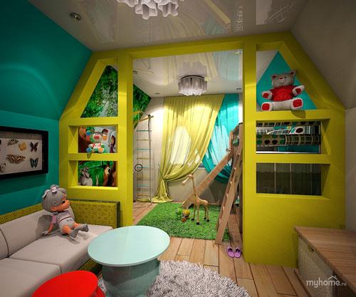Детская мансардная комната для двух детей с игровой зоной