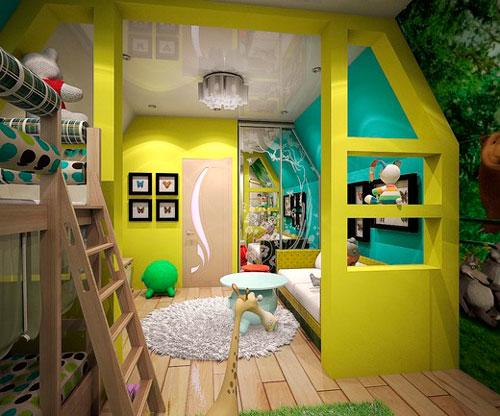 Детская мансардная комната для двух детей