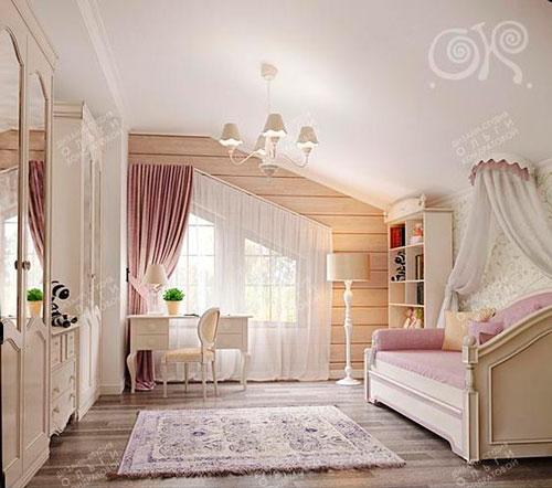 кровать с балдахином в комнате для девочек на мансарде