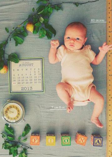 идеи для фотосессии новорожденных: необычная метрика