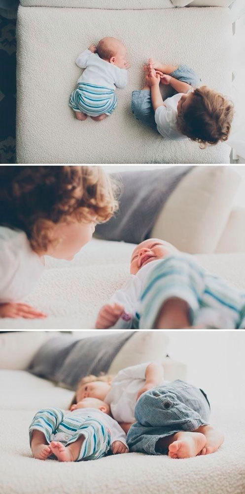 идеи для фотосессии новорожденных: малыш и брат