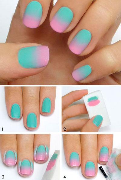 Двухцветное омбре на ногтях