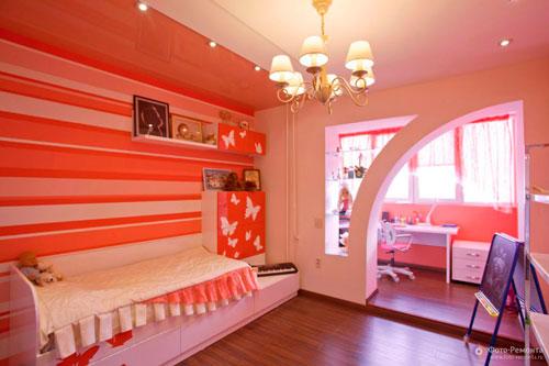 интерьер детской комнаты в оранжевом цвете 7