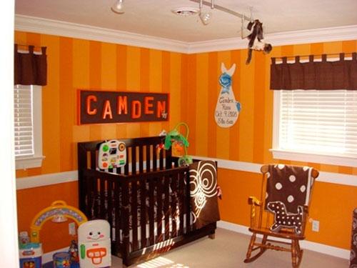 Оранжевый цвет в интерьере детской комнаты малыша