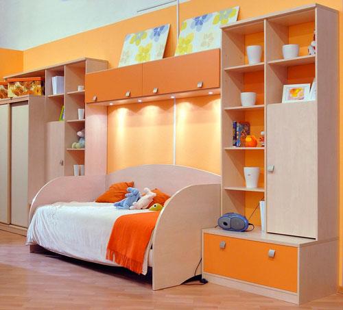 интерьер детской комнаты в оранжевом цвете 4