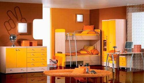разные оттенки оранжевого цвета в детской