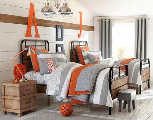 детская комната в оранжевом цвете для мальчиков