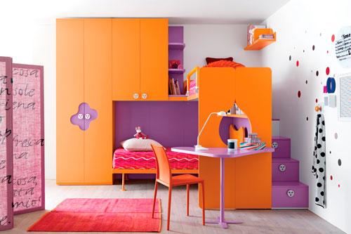 интерьер детской комнаты в оранжевом цвете 5
