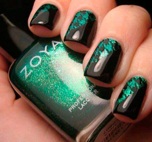 Дизайн ногтей черный с зеленым