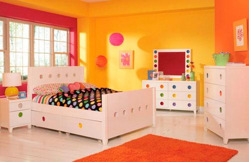 Оранжевый цвет в интерьере детской комнаты 4