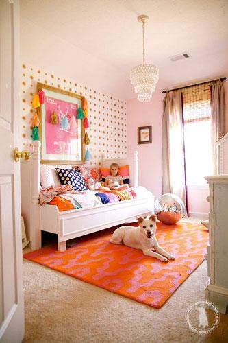 детская комната для девочкив оранжевом цвете 2