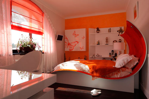 интерьер детской комнаты в оранжевом цвете 9