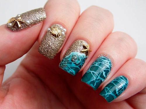 Летний маникюр в морском стиле: идеи на короткие ногти 8
