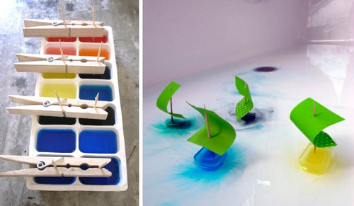 Home experiences with water and paint for children: ships