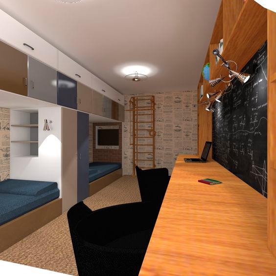 строгий дизайн в комнате мальчиков