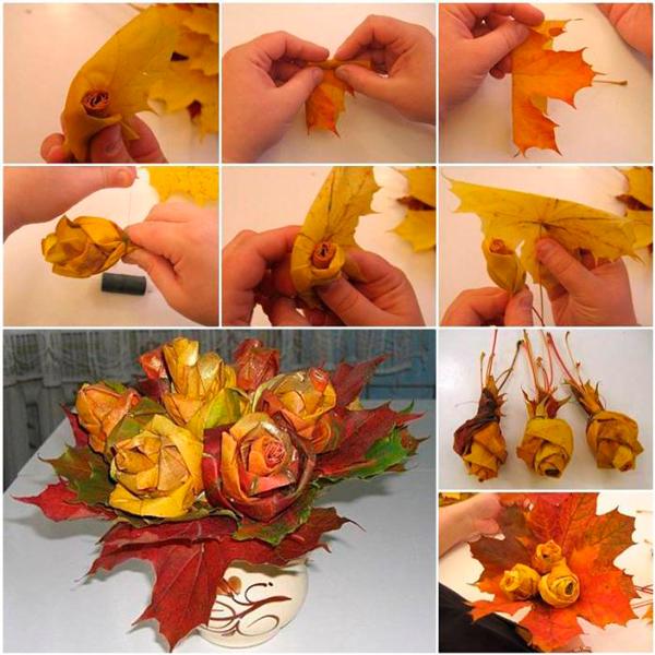осенние букеты и композиции из листьев 6