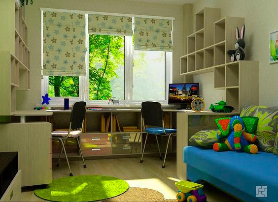 Дизайн детских для двоих детей комнат