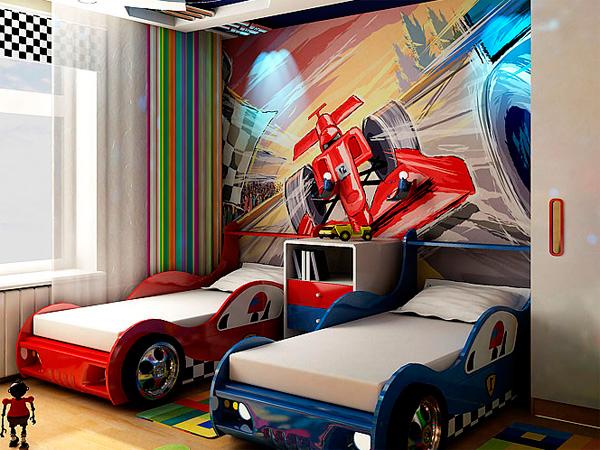 дизайн детской комнаты для двух мальчиков с кроватями машинами
