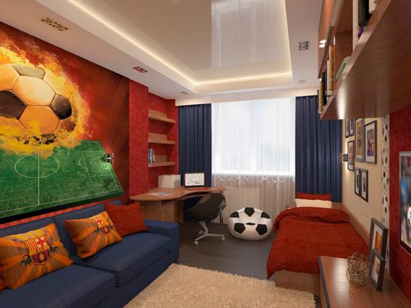 дизайн детской комнаты для мальчиков любящих футбол