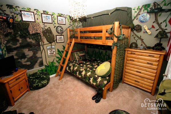 дизайн детской комнаты для двух мальчиков в военном стиле